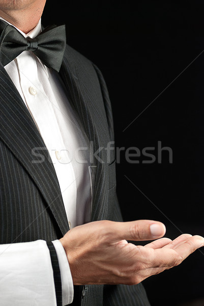 Fine Dining Waiter, Open Hand, Side View Stock photo © jackethead