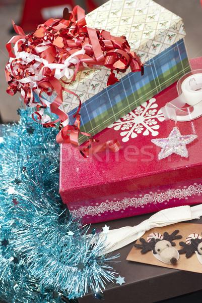Stockfoto: Christmas · geschenk · dozen · inpakpapier