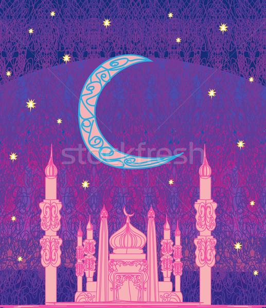Ramadan mosquée illustration carte fond silhouette Photo stock © JackyBrown