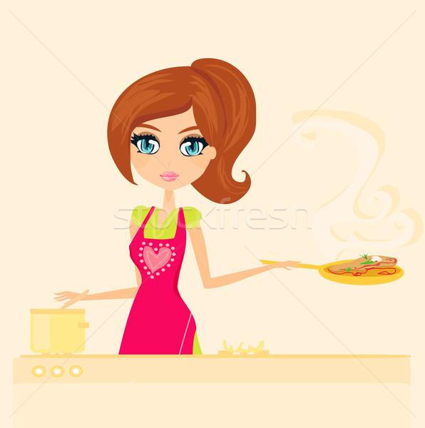 Mooie huisvrouw koken lunch keuken voedsel Stockfoto © JackyBrown