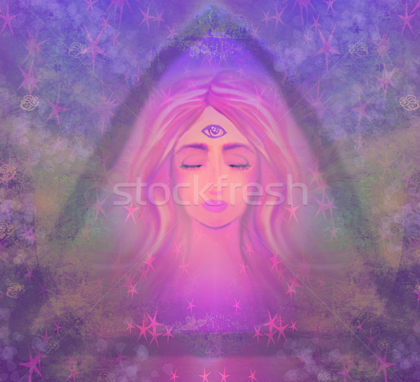 Stock photo: Woman with third eye, psychic supernatural senses