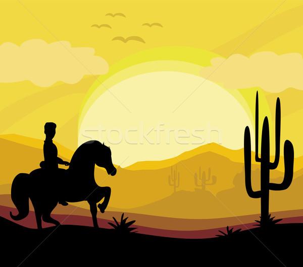 Silhouette homme cheval coucher du soleil soleil résumé Photo stock © JackyBrown