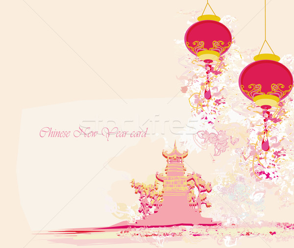 Chinese New Year card - Traditional lanterns and Asian buildings Stock photo © JackyBrown