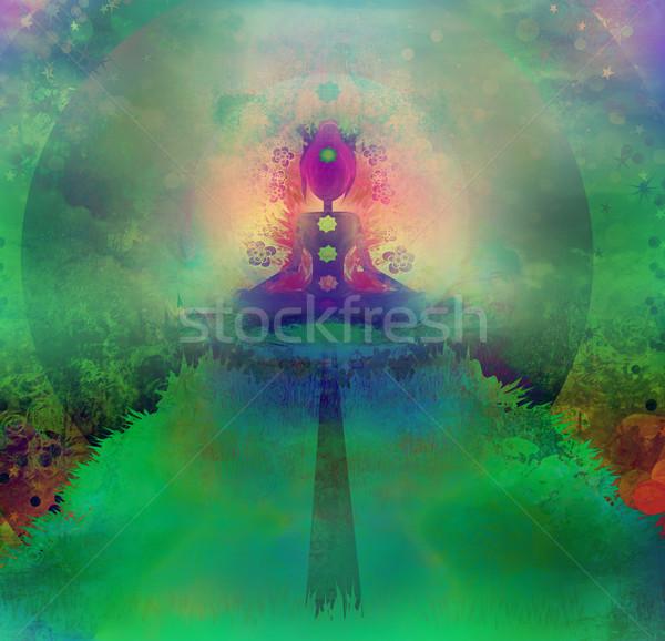 Jóga lótusz póz színes csakra pontok Stock fotó © JackyBrown