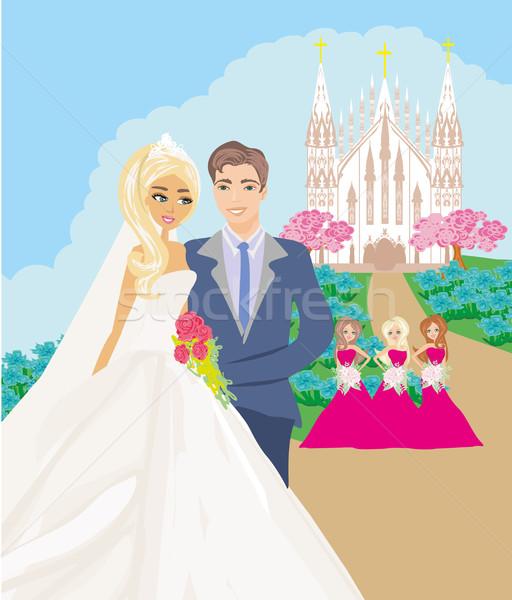 Düğün çift kilise gülümseme sevmek mutlu Stok fotoğraf © JackyBrown