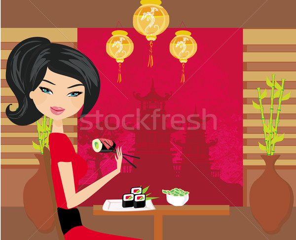 beautiful girl enjoy sushi  Stock photo © JackyBrown