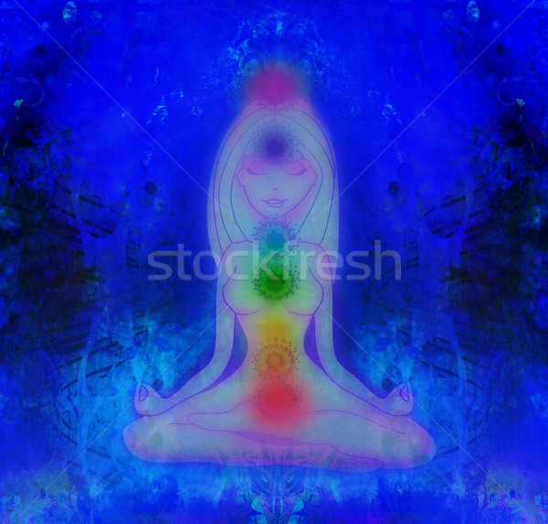 Human energy body, aura, chakras in meditation  Stock photo © JackyBrown
