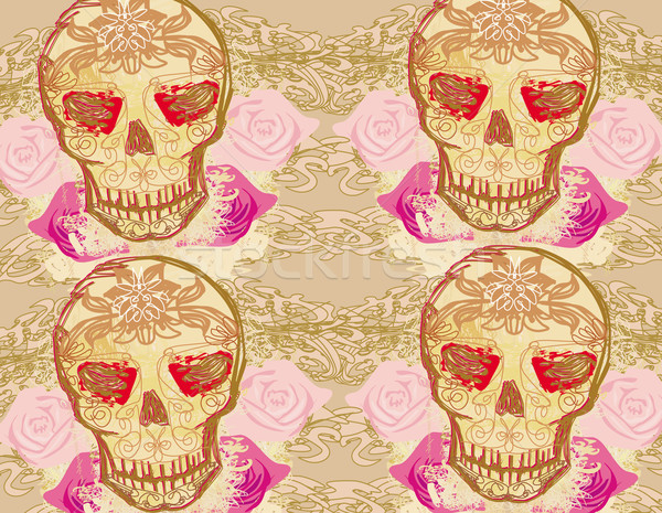 Skull and Flowers Day of The Dead Seamless Background  Stock photo © JackyBrown