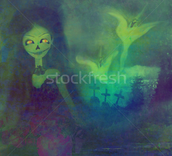 scary ghost floating on a graveyard at night Stock photo © JackyBrown