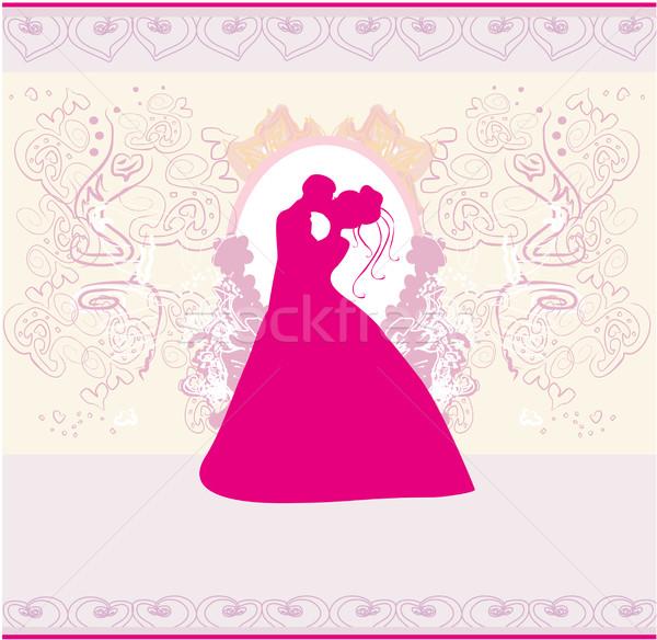 Stylish Hochzeitseinladung Karte Küssen Paar Frau Stock foto © JackyBrown