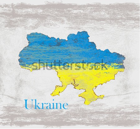 Ukraine Grunge map with the flag inside.  Stock photo © JackyBrown