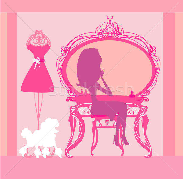 make up at home , silhouettes vector illustration  Stock photo © JackyBrown