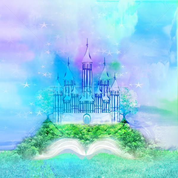 Magic world of tales, fairy castle appearing from the book  Stock photo © JackyBrown