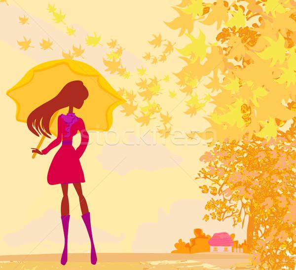 スタイリッシュ 女性 傘 花 音楽 ツリー ストックフォト © JackyBrown