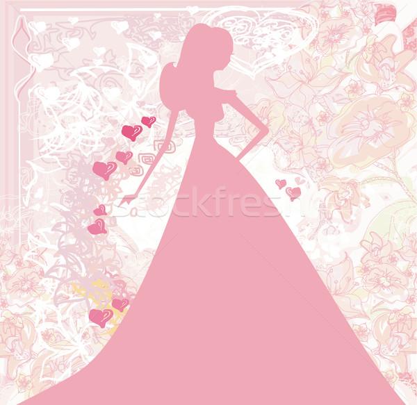 Résumé belle floral mariée silhouette carte Photo stock © JackyBrown