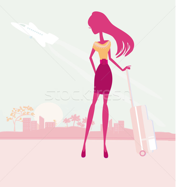 beauty travel girl silhouette with baggage at the airport Stock photo © JackyBrown
