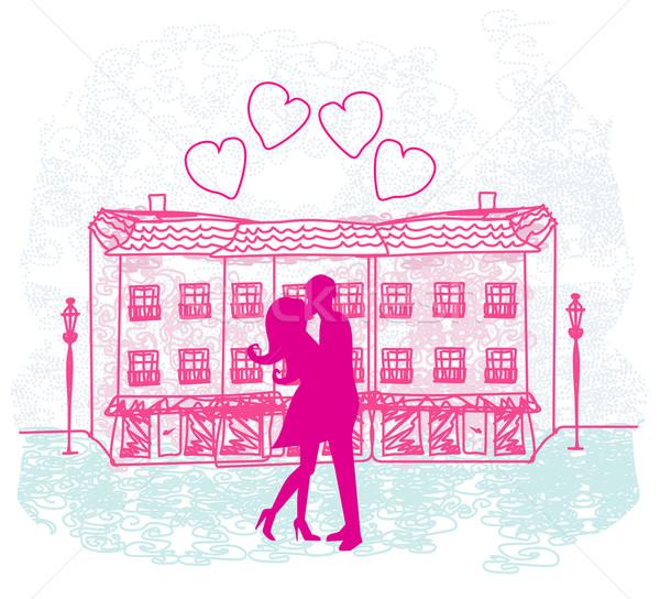 ロマンチックな バレンタイン レトロな はがき キス カップル ストックフォト © JackyBrown