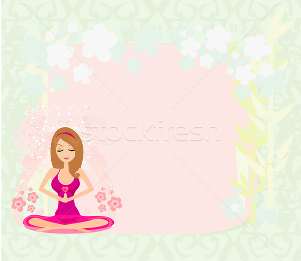 Yoga meisje lotus positie abstract frame Stockfoto © JackyBrown