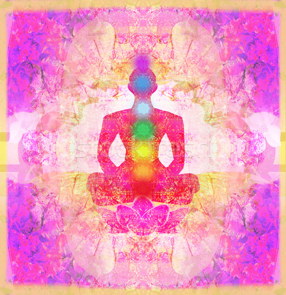 Yoga lotus pose. Padmasana with colored chakra points.  Stock photo © JackyBrown