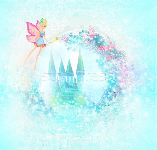 Magic bajki princess zamek drzwi drzew Zdjęcia stock © JackyBrown