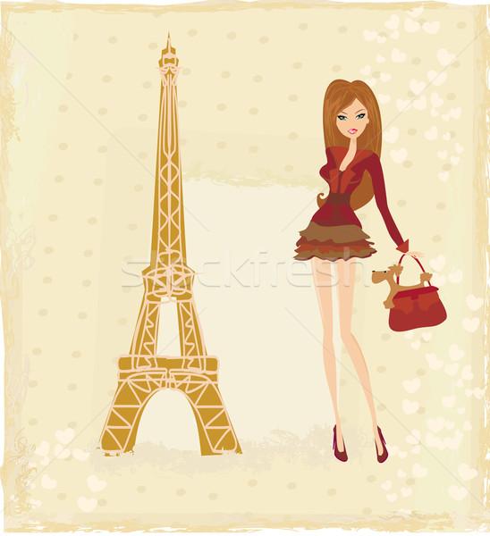 Güzel moda kadın alışveriş Paris vektör Stok fotoğraf © JackyBrown
