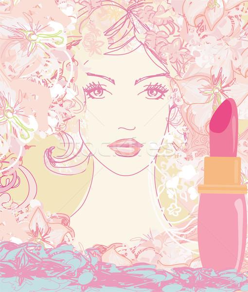 Belle femme peint lèvres femme mode fond Photo stock © JackyBrown