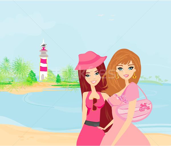 Stock fotó: Szépség · utazás · lányok · nő · tengerpart · égbolt