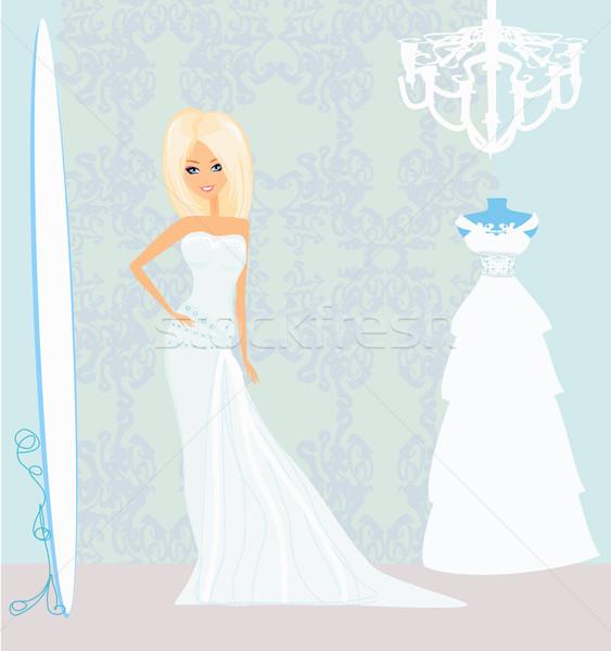 Stockfoto: Bruid · salon · trouwjurk · bruiloft · liefde · vrouwen
