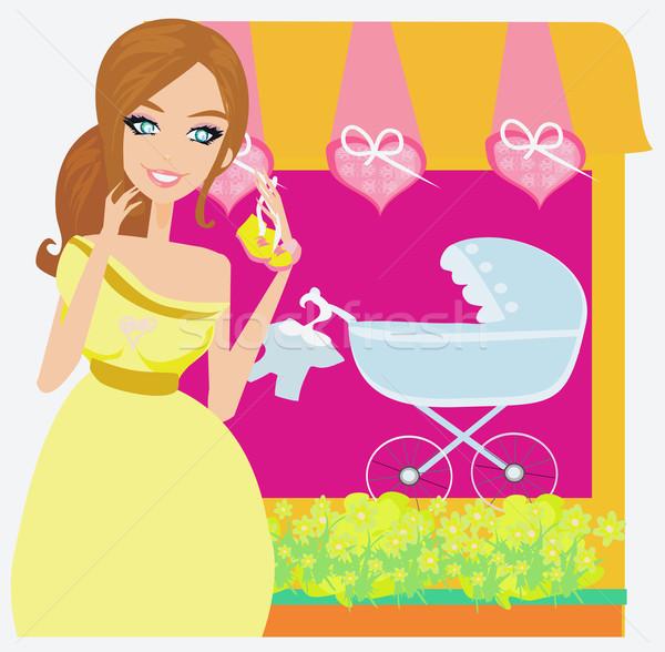 Stock fotó: Gyönyörű · terhes · nő · vásárlás · új · baba · nő
