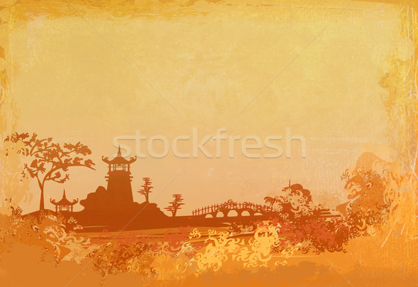 old paper with temple on Asian landscape - raster Stock photo © JackyBrown