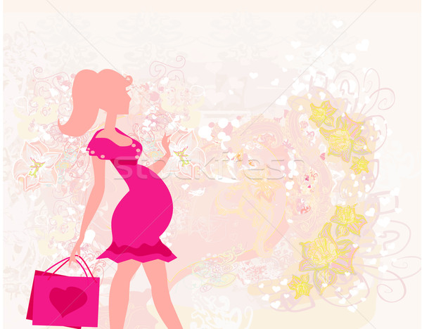 Belle femme enceinte Shopping carte fille fond Photo stock © JackyBrown