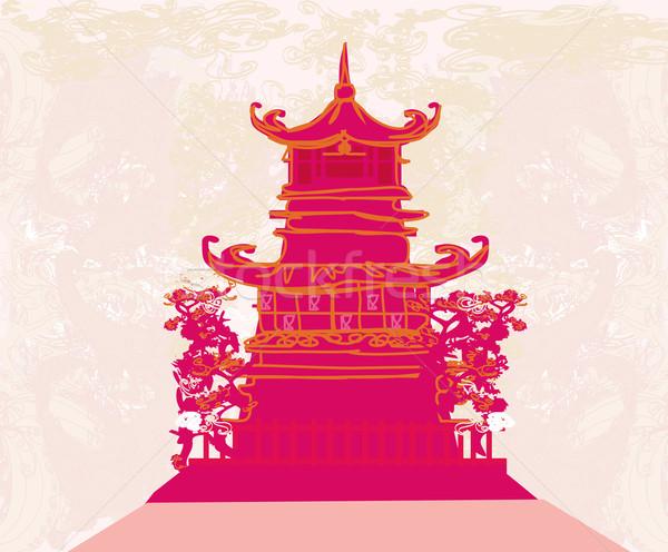 старой бумаги китайский храма аннотация азиатских пейзаж Сток-фото © JackyBrown