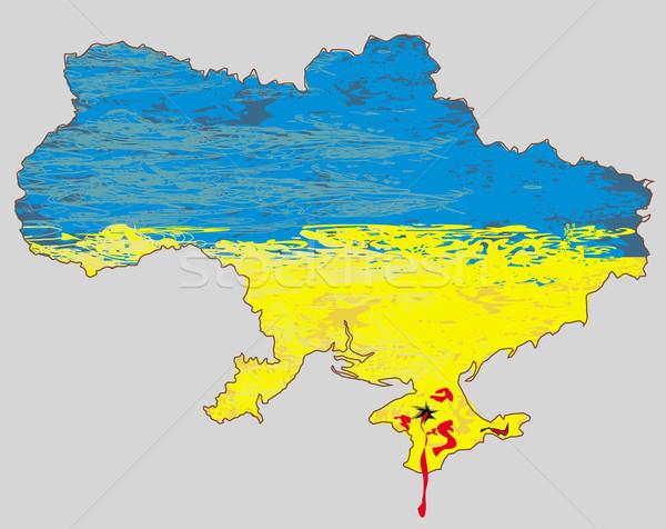 Ukrajna vektor térkép vér textúra világ Stock fotó © JackyBrown