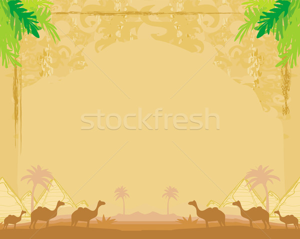 camel caravan in wild africa - abstract grunge frame Stock photo © JackyBrown