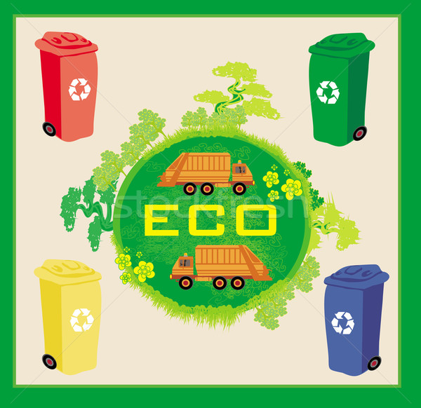 Colorful recycle bins ecology concept with landscape and garbage Stock photo © JackyBrown