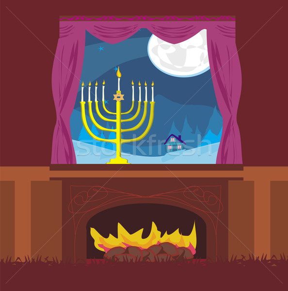 candlestick in window - hanukkah  Stock photo © JackyBrown