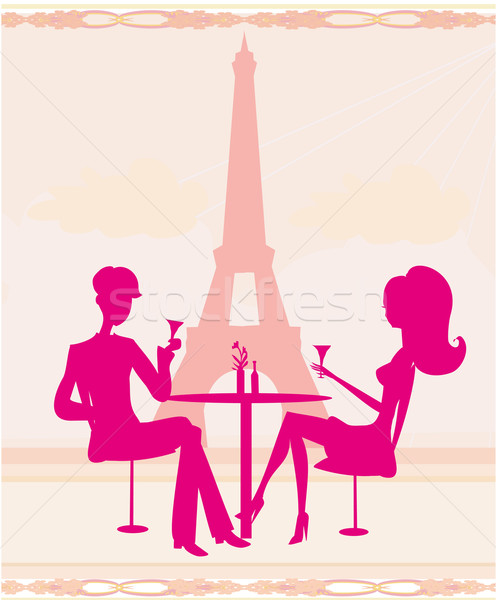 Flertar beber champanhe Paris mulher Foto stock © JackyBrown
