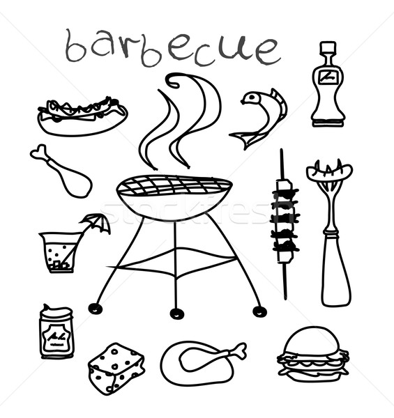 Barbecue icône doodle alimentaire poissons Photo stock © JackyBrown