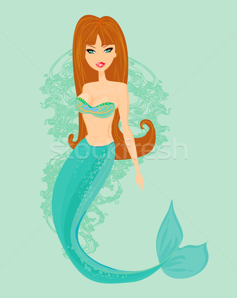 Illustration of a Beautiful mermaid card Stock photo © JackyBrown