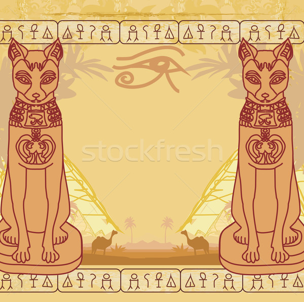 Stylized Egyptian cat , abstract grunge card Stock photo © JackyBrown