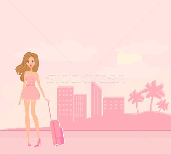 Stock fotó: Szépség · utazás · lány · poggyász · repülőtér · tengerpart