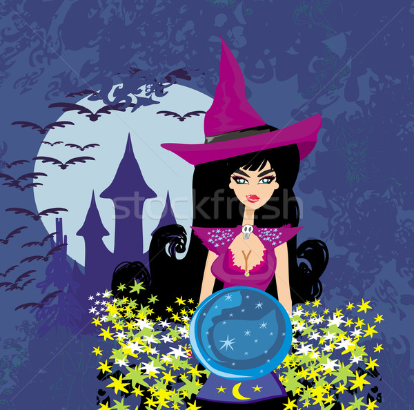 beautiful witch with crystal ball. Stock photo © JackyBrown