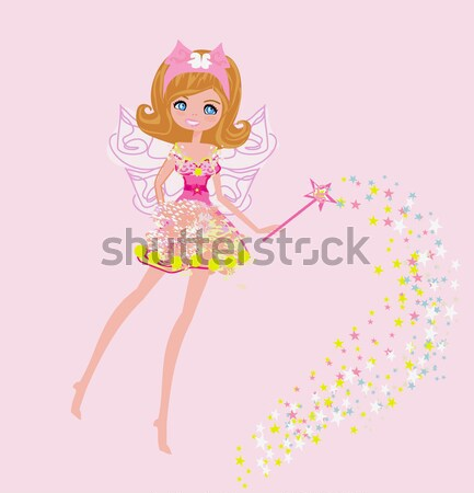 beautiful fairy with magic wand vector graphic Stock photo © JackyBrown