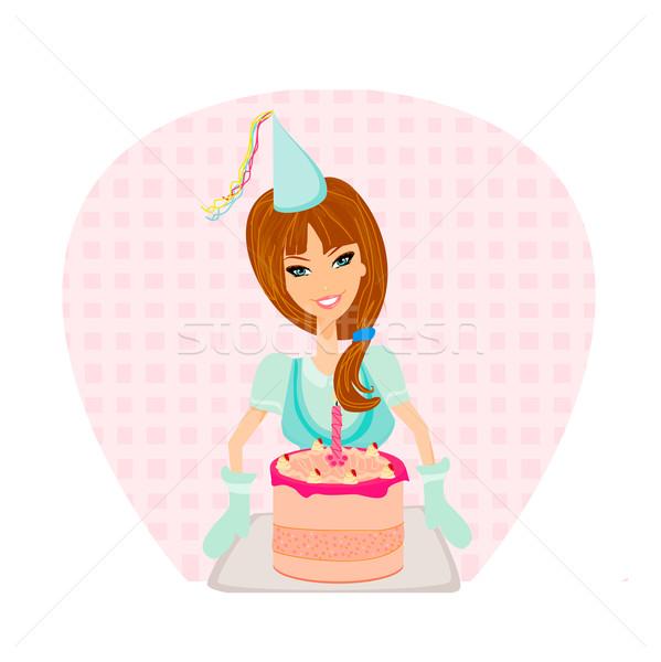 Születésnapi torta lány étel otthon torta belső Stock fotó © JackyBrown