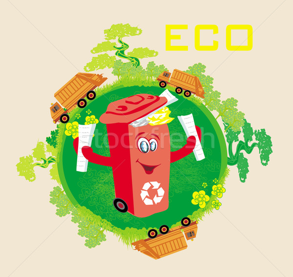 Stock photo: Recycling red bin with papers,  ecology concept with landscape a