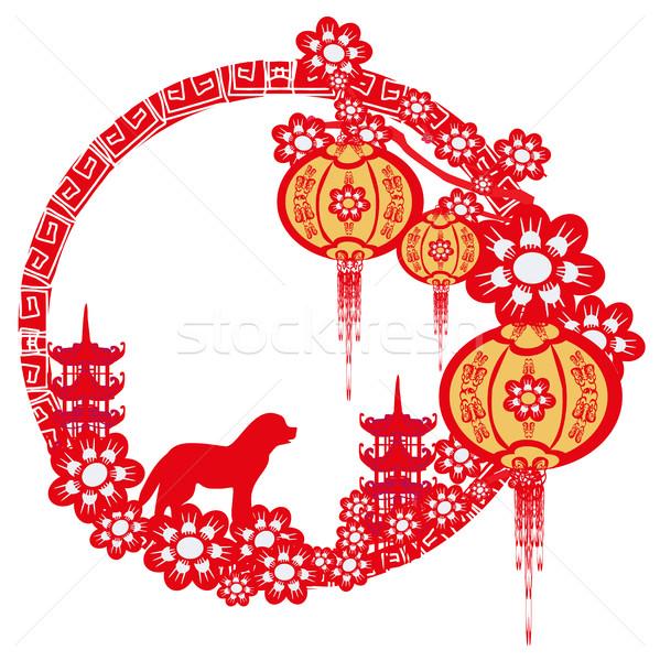 Chinois zodiac année chien cadre printemps Photo stock © JackyBrown