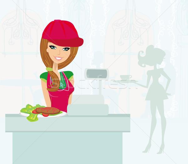 saleswoman serves lunch Stock photo © JackyBrown