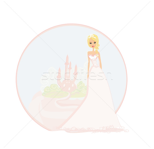 Stock photo: Beautiful young princess in front of her castle