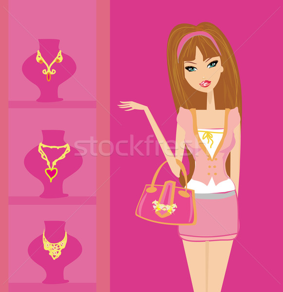 Kız alışveriş güzellik altın genç hediye Stok fotoğraf © JackyBrown