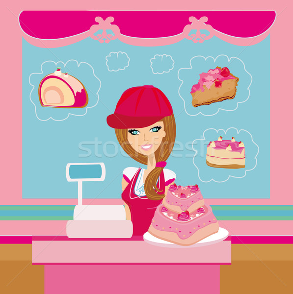 bakery store - saleswoman serving large pink cake Stock photo © JackyBrown